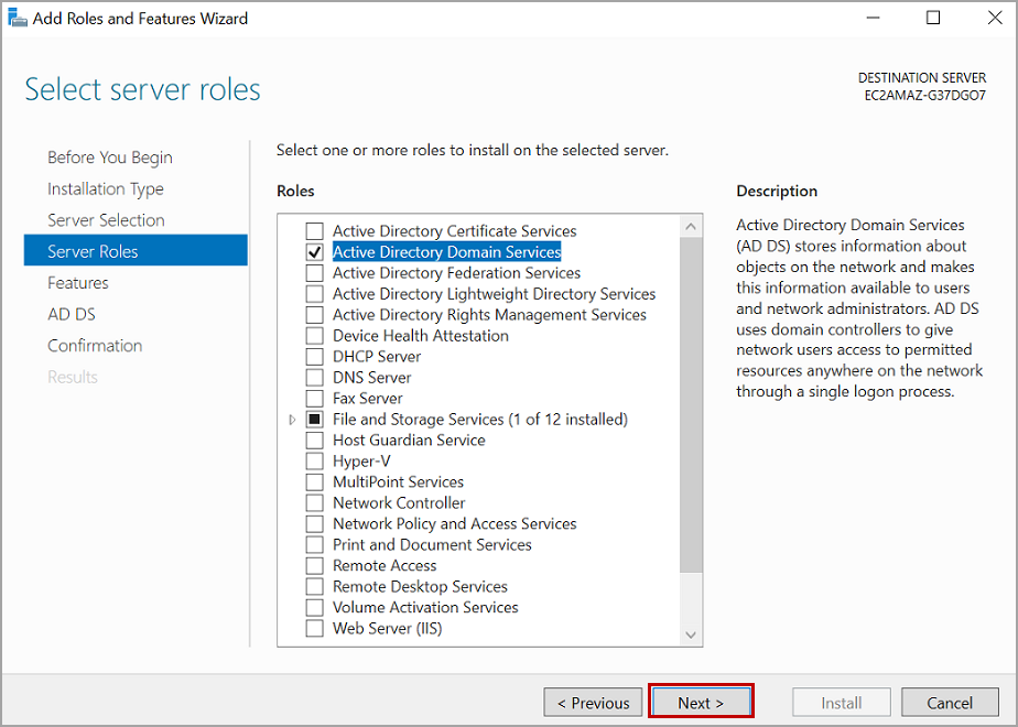 add active directory services