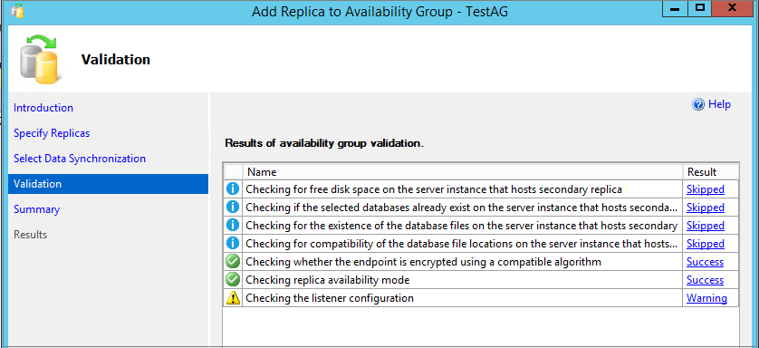 Availability group validations