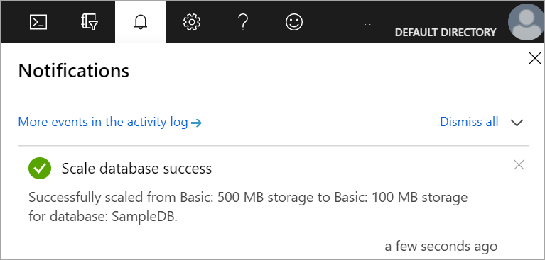 change the configuration of Azure SQL database