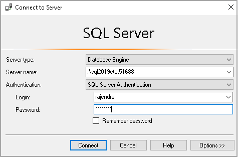 Connect to SQL server using user with public access