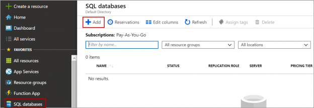 CREATE DATABASE using Azure portal