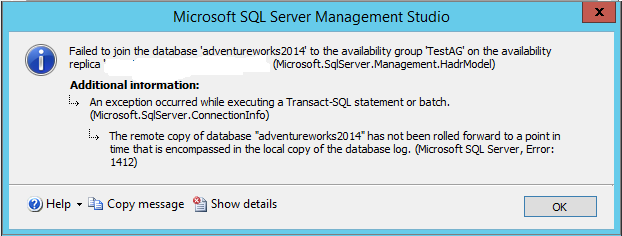 Erorr message while adding database back to AG group