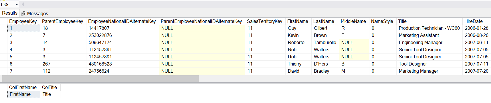 Example of metadata function COL_NAME() in SQL Server.