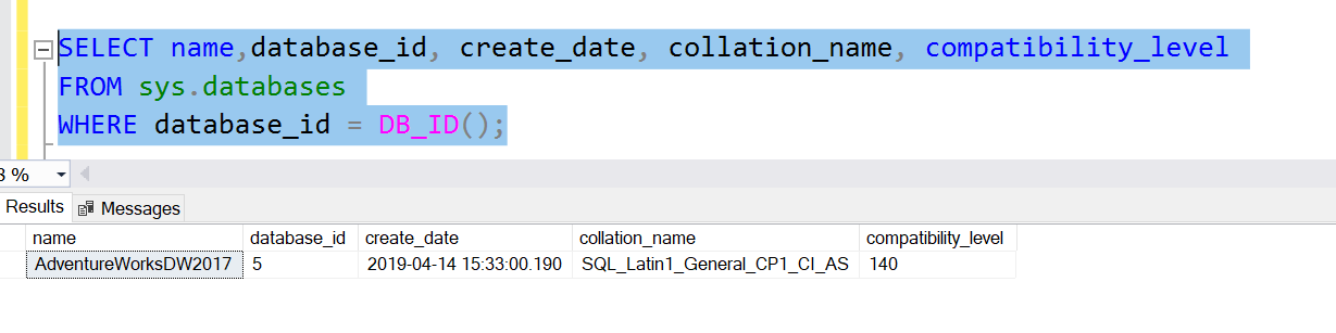 Example of metadata function DB_ID() in SQL Server.