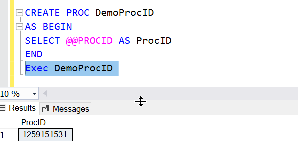Example of metadata function @@PROCID in SQL Server.