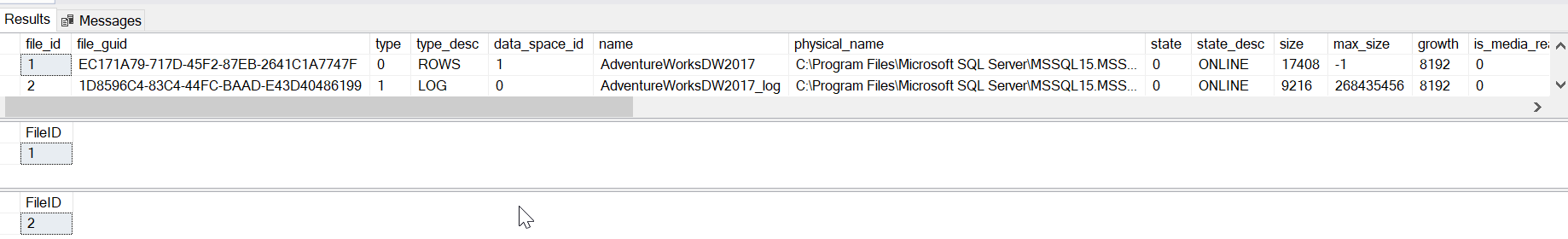 Examples of metadata function FILE_IDEX() in SQL Server.