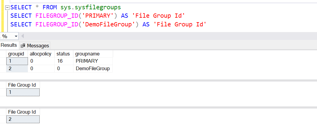 Examples of metadata function FILEGROUP_ID() in SQL Server.
