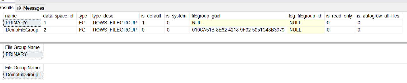 Examples of metadata function FILEGROUP_NAME() in SQL Server.