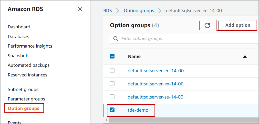 option group to enable Transparent Data Encryption in AWS RDS SQL Server