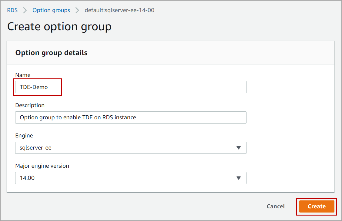 option group to enable Transparent Data Encryption in AWS RDS