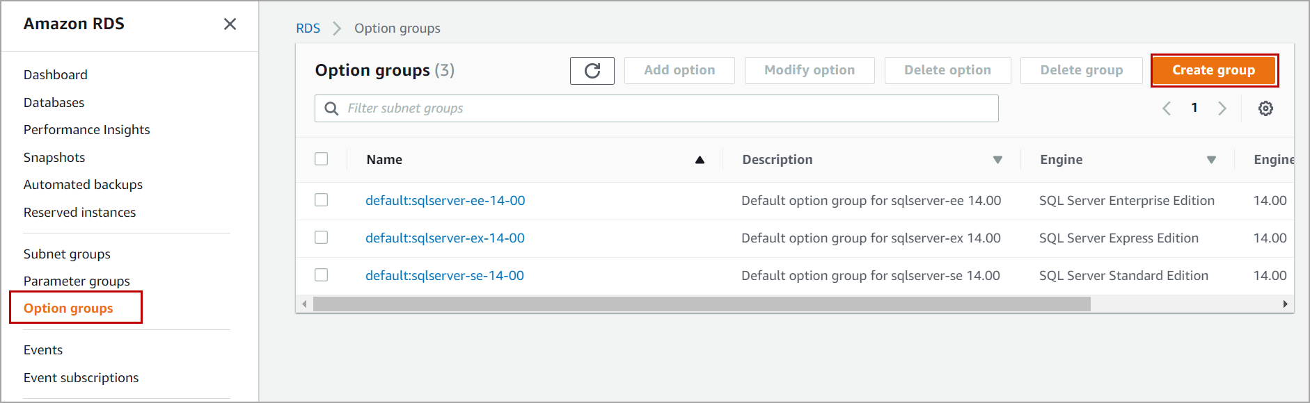 option groups in AWS RDS SQL Server