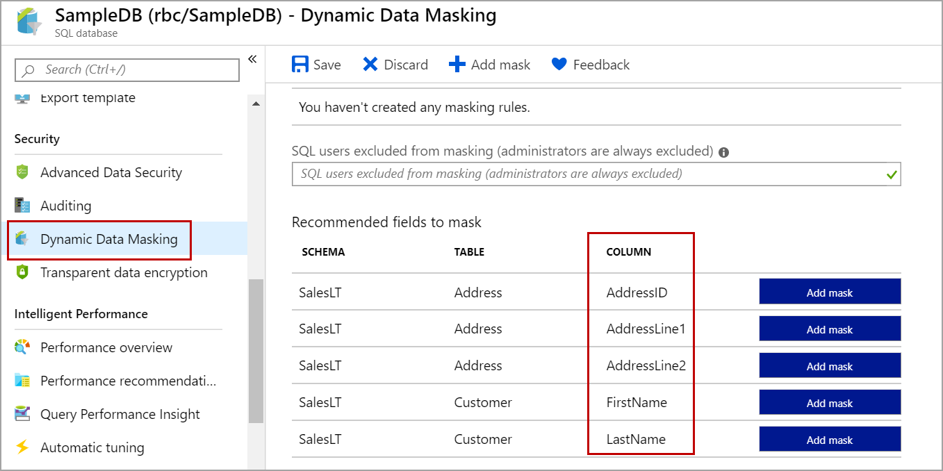 recommended columns for dynamic data masking