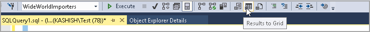 Result to Grid in SSMS toolbar