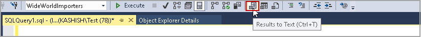 Result to Text in SSMS toolbar