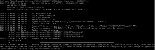 SQL Server start in the minimal mode