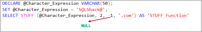 SQL STUFF function with a negative lenth value