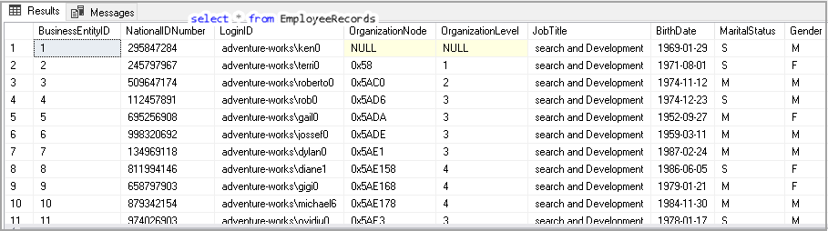 SQL View to fetch all records of a table