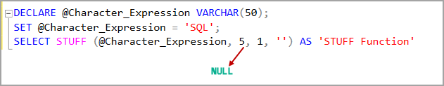 STUFF function with the starting position value larger than the string length