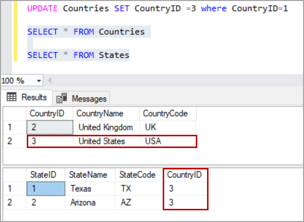 update cascade rule in SQL Server foreign key