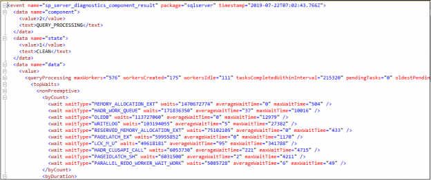 XML view of extended event
