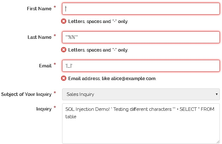 Attempting to locate a SQL injection vulnerability by entering special characters into form fields.
