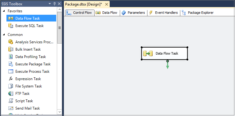 Create a new SSIS package