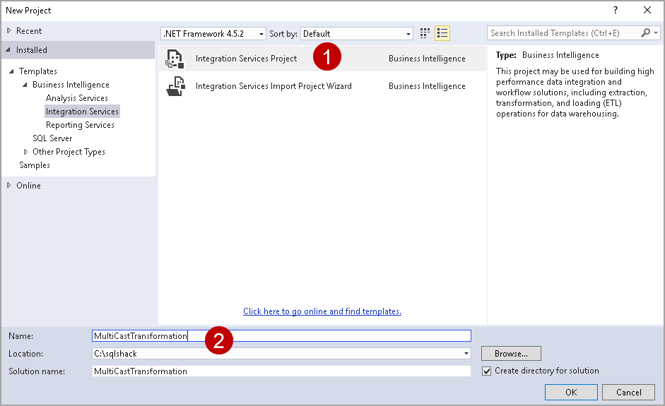 Create a SSIS package