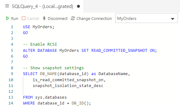 Enabling Read Committed Snapshot Isolation (RCSI)