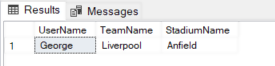 Output of query showing user name, football team supported and football stadium