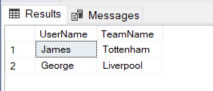 Output of query to show users favourite football teams