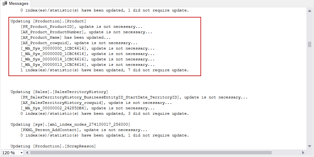 sp_updatestats output message and details