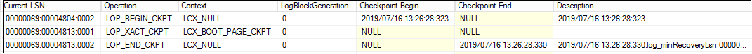 SQL Server CHECKPOINT LSN information