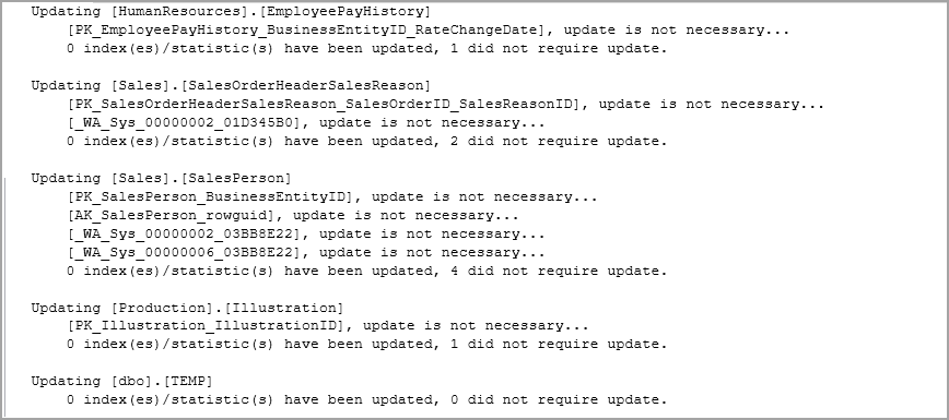 The output of sp_updatestats command
