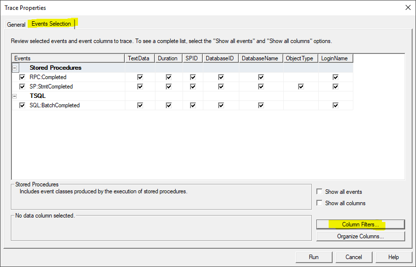 This image shows how the SQL Profiler Event Selection Tab