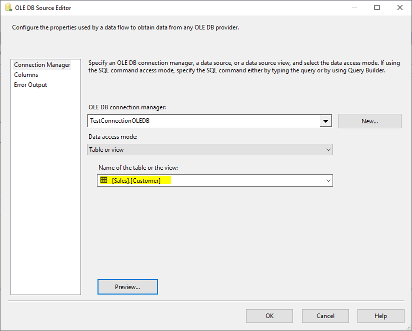 This image shows how to select a Sales.Customer as source in a SSIS OLE DB Source when using Table or View data access mode