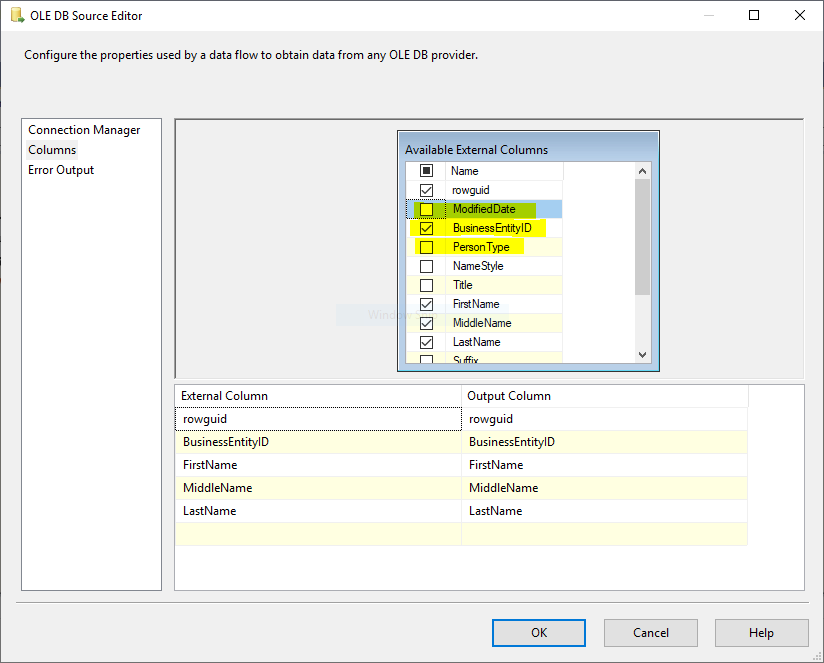 This image shows how to select specific column in SSIS OLE DB Source when using Table or View data access mode