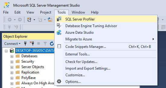 This image shows how we open SQL Server profiler from SQL Server Management Studio