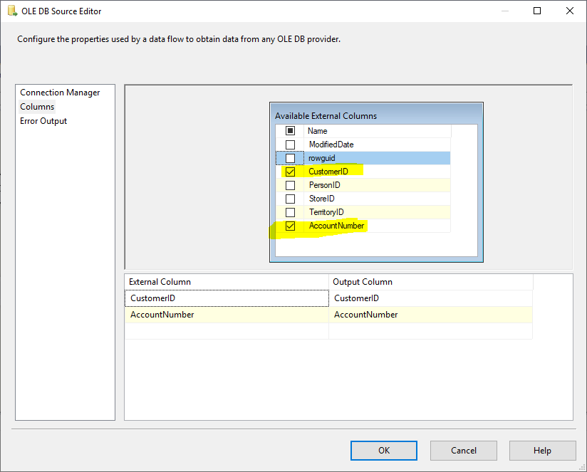 This image shows how we selected CustomerID and AccountNumber columns from the SSIS OLE DB source editor