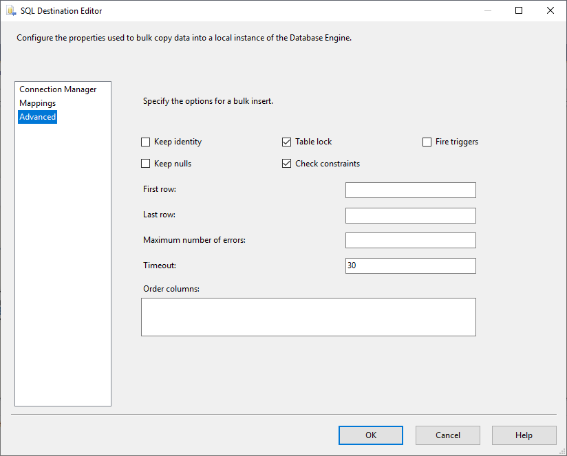 This image shows the Advanced Tab page in the SSIS SQL Server Destination editor