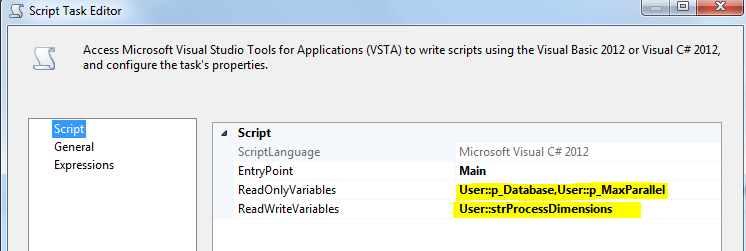 This image shows the First Script Task configuration