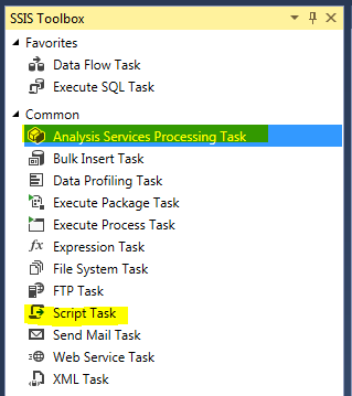 This image shows the SSIS Toolbox with Script Task and Analysis Services Processing Task highlighted