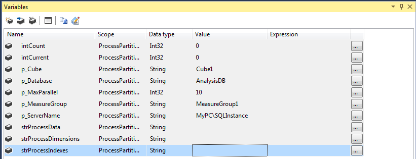 This image shows the variables added in Visual Studio