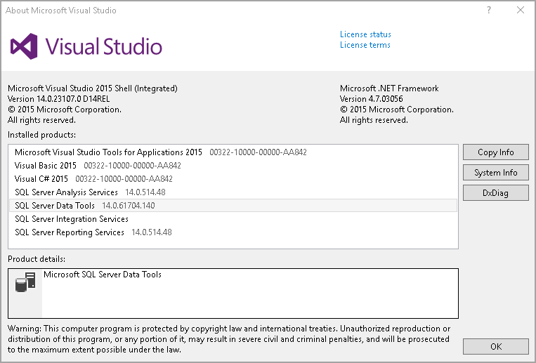 Visual Studio version and edition