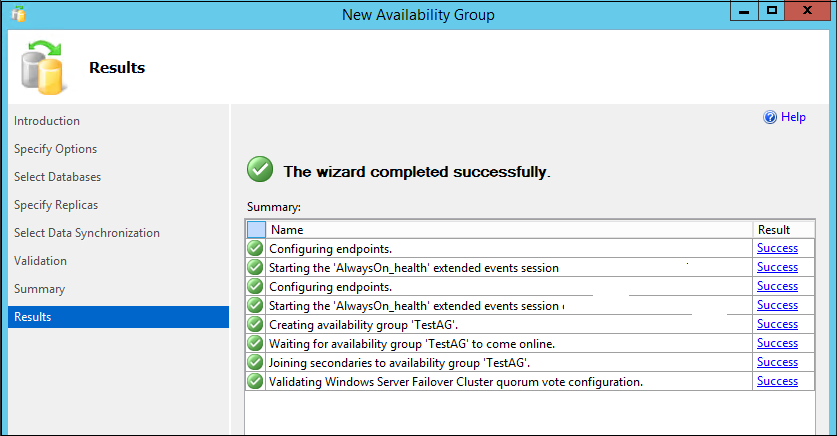 Windows Failover Cluster validation in the new Availability Group configuration