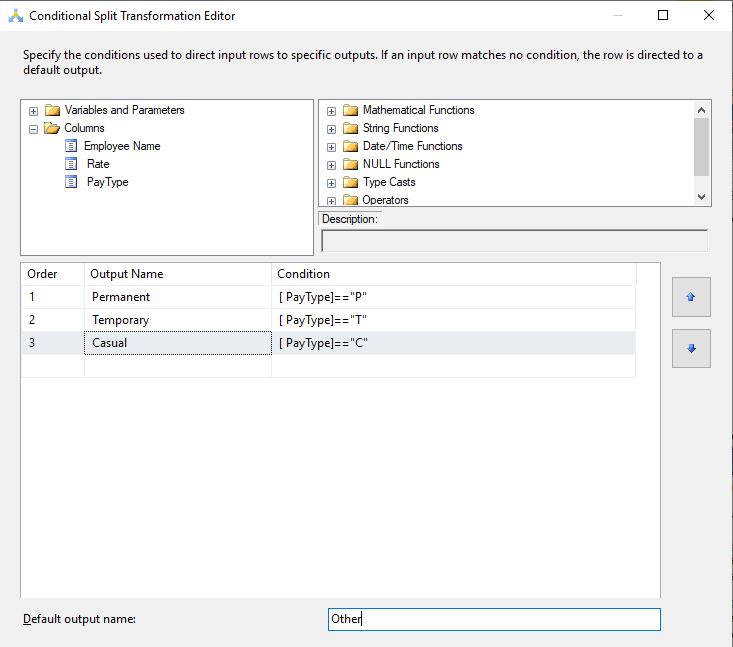 Configuration of SSIS Conditional Split Transformation.