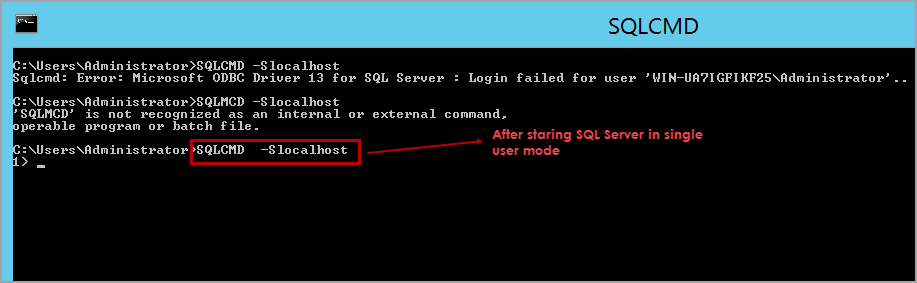 connect SQL Server using SQLCMD