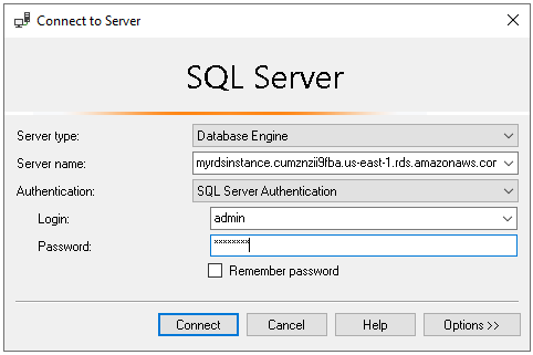 Connect to RDS instance using SSMS