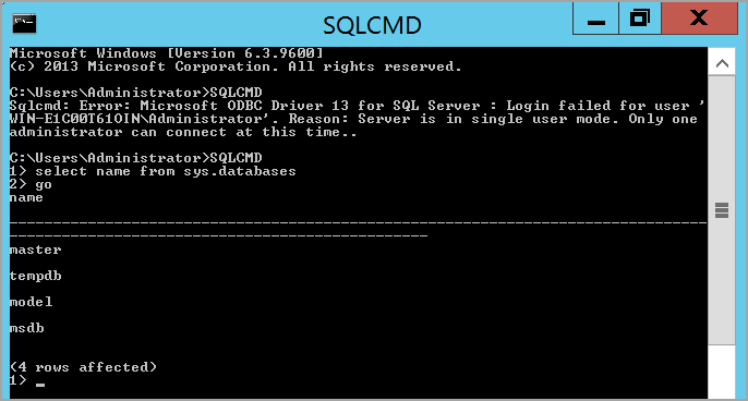 connecting SQL Server using SQLCMD