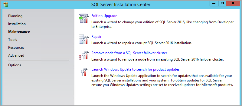 Edition Upgrade Wizard in SQL Server set up