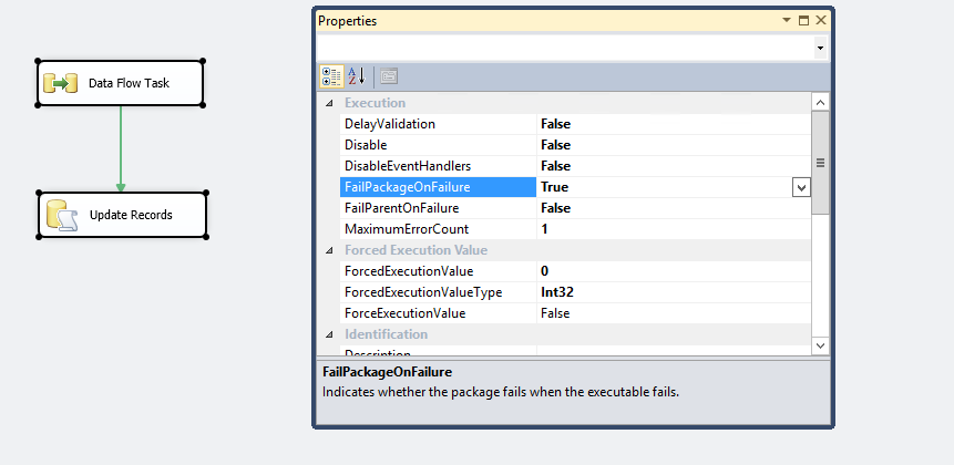 FailPackgaeOnFailure property in SSIS package